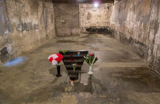 Chamber in Auschwitz where bodies of people killed in gas chamber were kept before being burned.