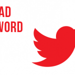 Red twitter logo with text that reads spread the word