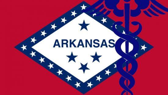 Arkansas map with medical logo superimposed