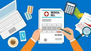 Illustration of a person looking at a medical bill