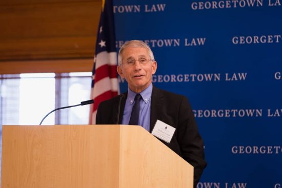 Dr. Anthony Fauci speaking from a podium