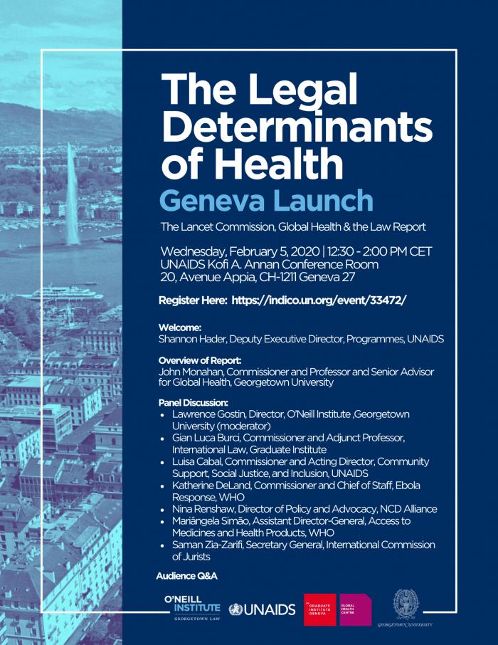 The Legal Determinants of Health Geneva Launch Event Flier