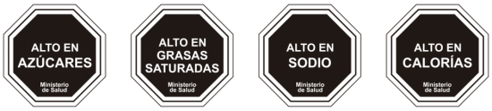 Black food warning labels with Spanish text