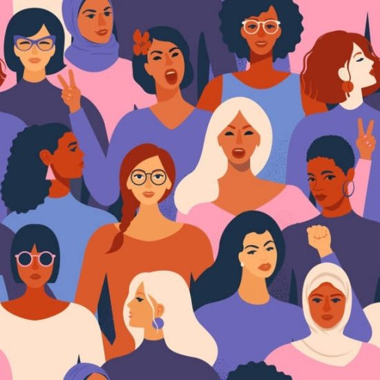 Illustration of multiracial women