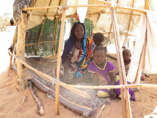 A family internally displaced in Chad, among a record nearly 51 million internally displaced people in 2019.