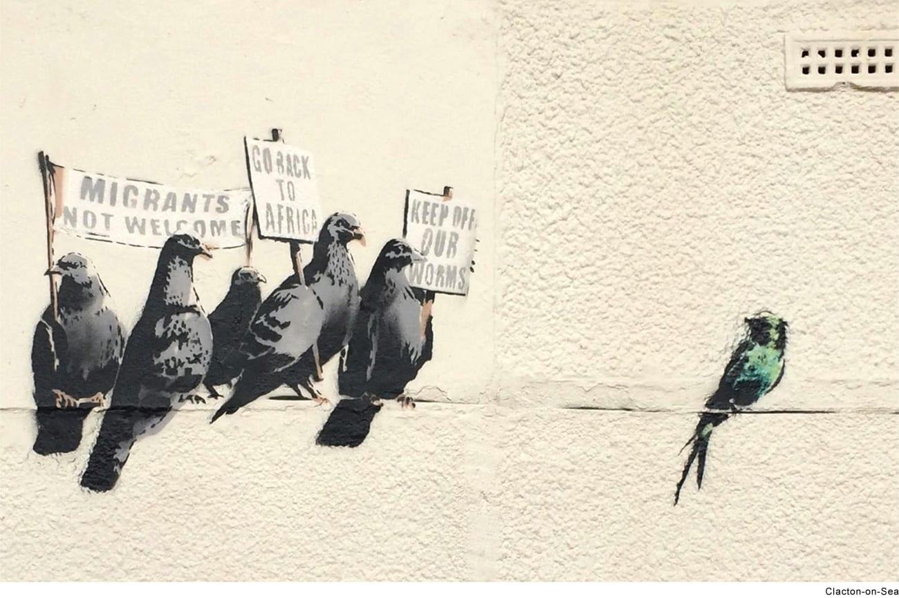 Banksy artwork depicting pigeons as protesting against immigration