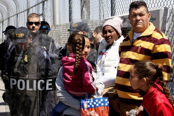 Asylum seekers at the US/Mexico border.