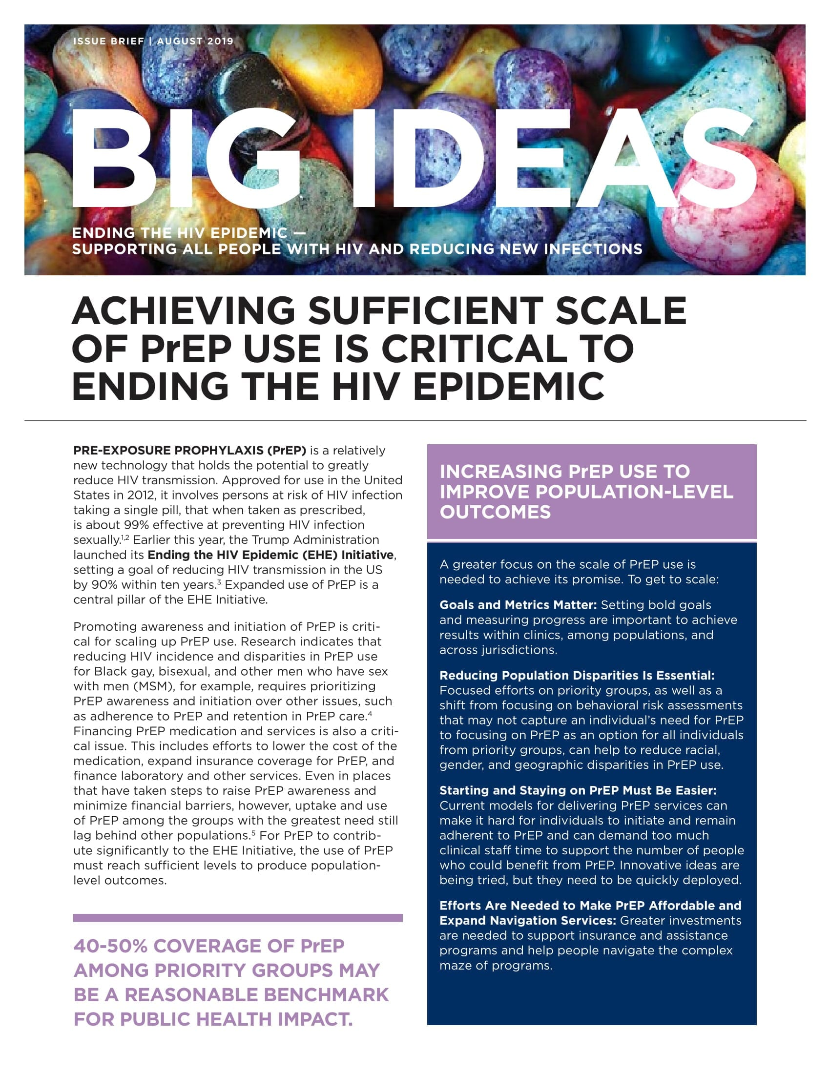 Cover of Big Ideas:Achieving Sufficient Scale of PrEP Use Is Critical to Ending the HIV Epidemic (August 2019)