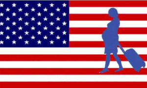 American flag with a silhouette of a pregnant woman in front of it