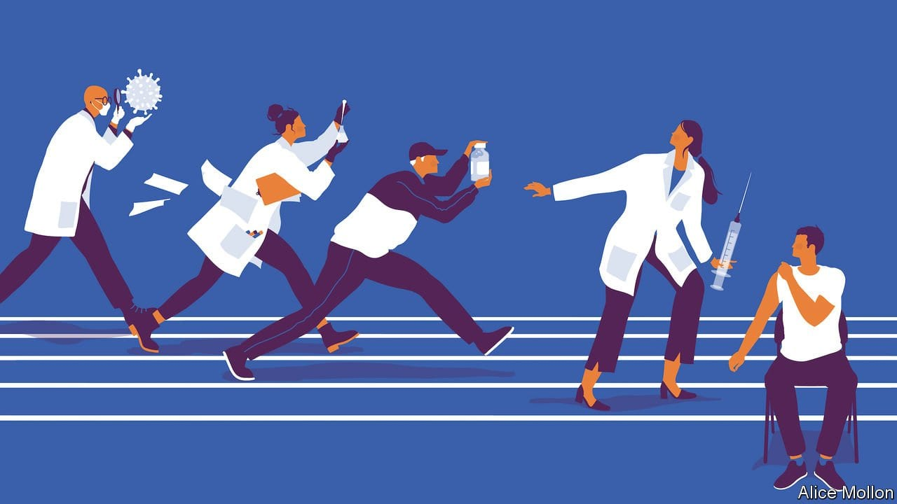 artwork of Doctors rushing to vaccinate a patient