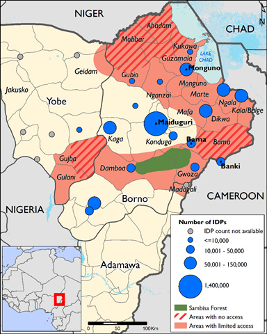 Courtesy of World Food Programme. There are now more than 2.6 million internally displaced persons and refugees in northeast Nigeria and surrounding regions.