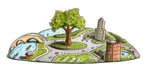 Sustainable urban planning illustration