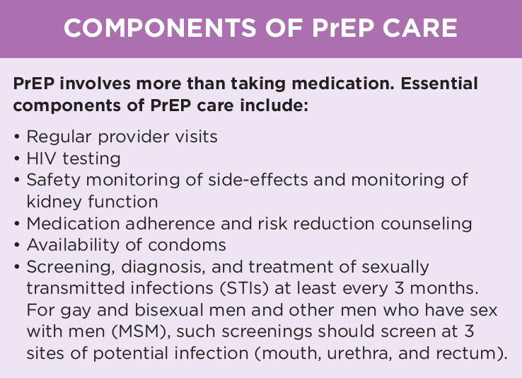 Components of PrEP Care from Quick Take on the USPSTF PrEP Recommendation