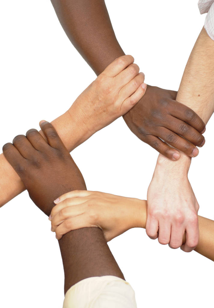 Image of five people holding hands