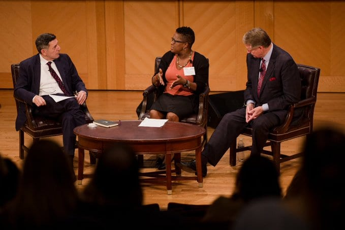 Tracie Gardner (Legal Action Center), Mayor Stephen Williams (Huntington, WV), and moderator Dr. Michael Botticelli (Boston Medical Center) discuss systemic barriers to solving the opioid crisis.