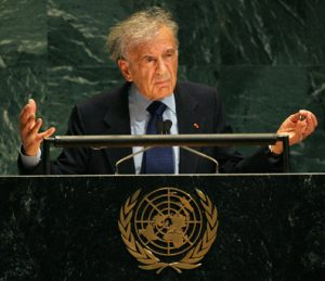 24 Jan 2005, New York City, New York, USA --- Nobel Prize winner and Holocaust survivor Elie Wiesel speaks at a special session of the United Nations General Assembly in New York, January 24, 2005. Those who incite hatred and mass murder are not always extremists but men of culture, UN Secretary General Kofi Annan told world leaders in opening the first-ever General Assembly commemoration of the World War Two Holocaust. The UN held a special memorial to the 60th anniversary of the liberation of Auschwitz, the largest Nazi Germany death camp. --- Image by © JEFF ZELEVANSKY/Reuters/Corbis