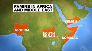 Famine has already been declared in parts of South Sudan, and threatens Somalia, Yemen, and Nigeria.
