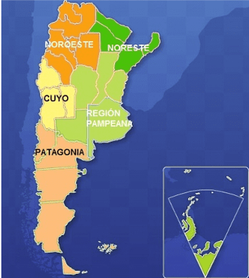 map of the regions of Argentina