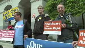 Healthcare is a human right protest