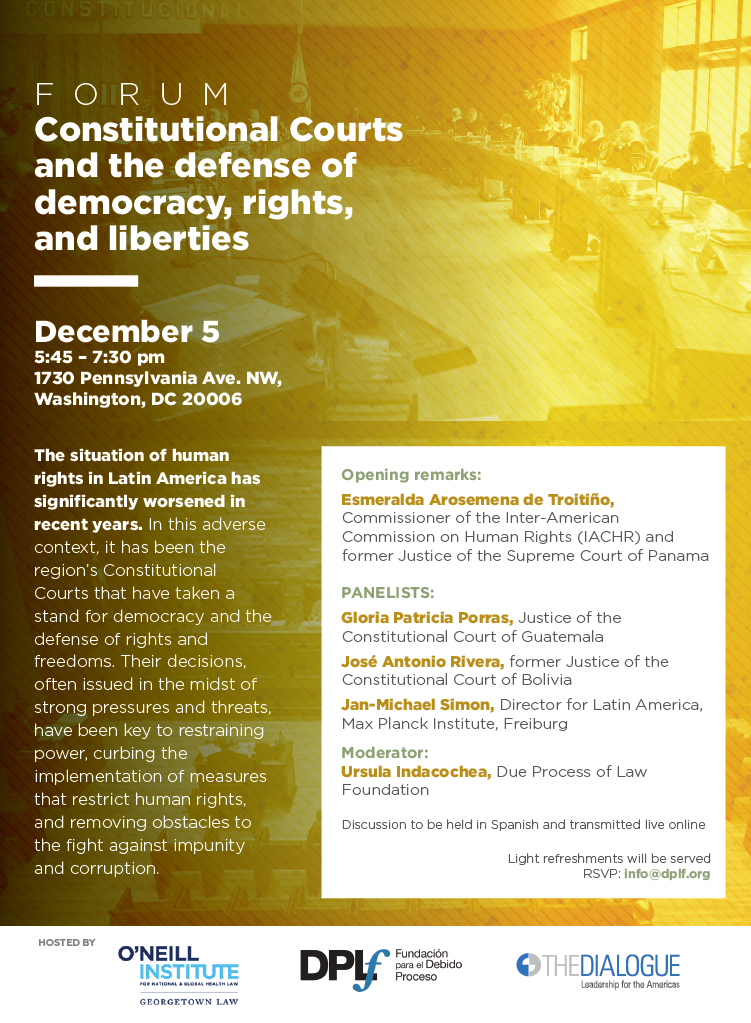 Forum Constitutional Courts and the defense of democracy, rights, and liberties event flier