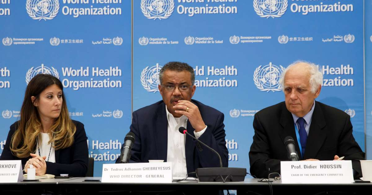 WHO Director-General Dr. Tedros, Emergency Committee Chair Prof. Didier Houssin, and Dr. Maria Van Kerkhove at Jan 23, 2020 press conference