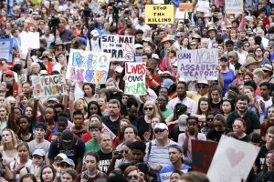 Marjory Stoneman Douglas High School students and supporters rally for gun control in Tallahassee, Florida, on February 21, 2018.