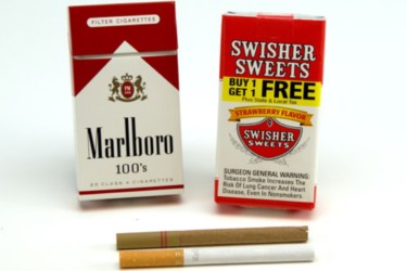 Packets of Marlboro and Swisher Sweets cigarettes