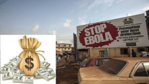 Stop Ebola billboard with an image of a bag of money