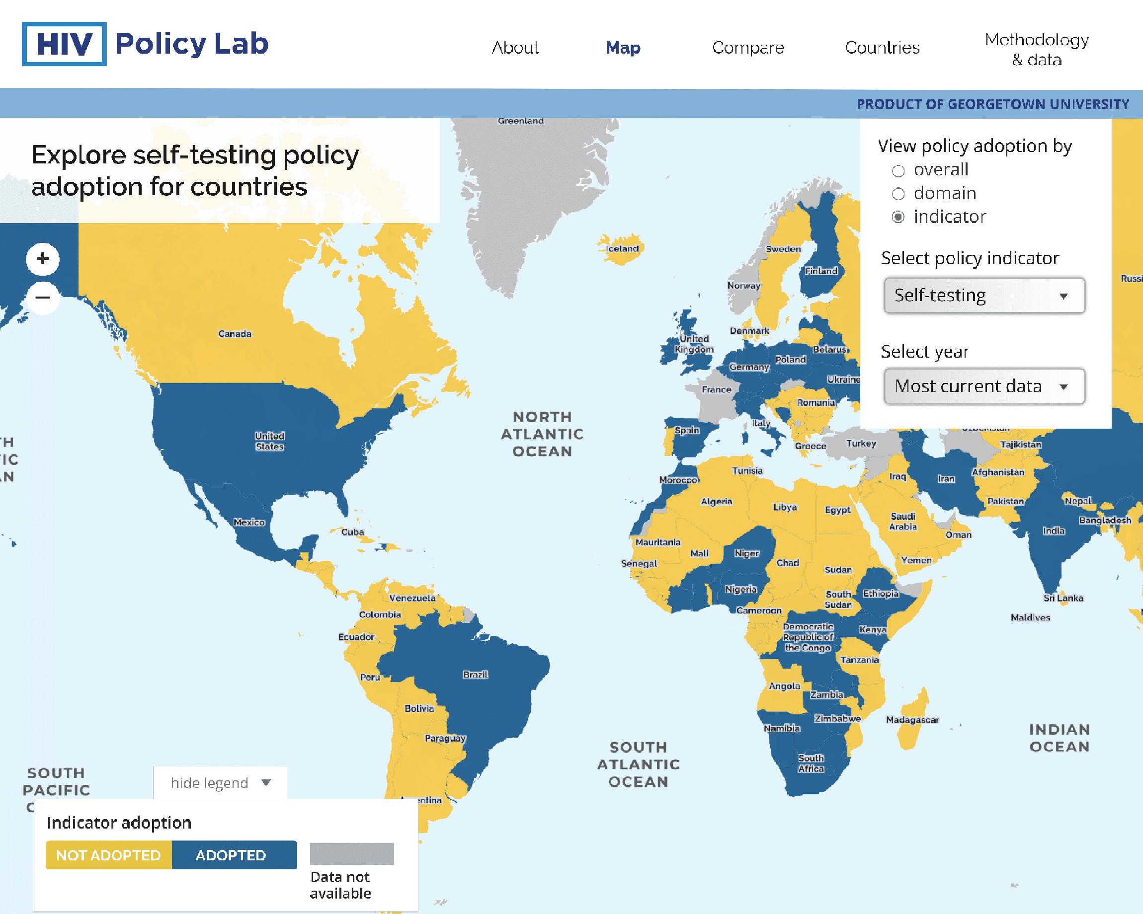 A screen shot of the HIV Policy Lab website