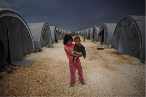 two children in a refugee camp