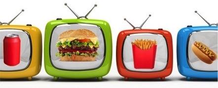 TVs displaying junk food