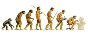 image of evolving man, from ape to sitting at a computer