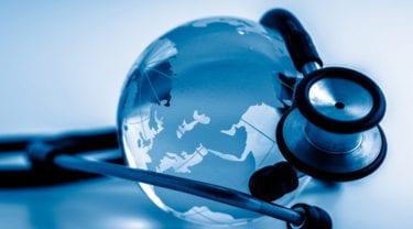 globe with a stethoscope
