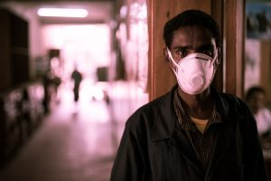 person wearing an N95 mask