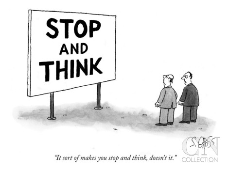 sam gross it sort of makes you stop and think new yorker cartoon