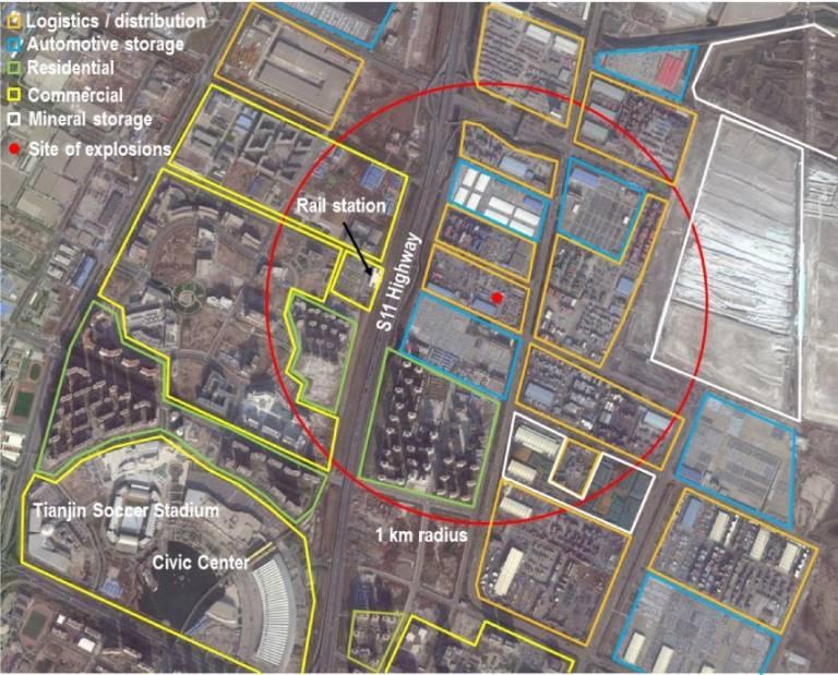 Map of Tianjin Blast Zone