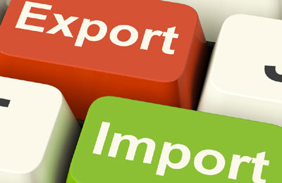 """keyboard with words """"export"""" and """"import"""""""