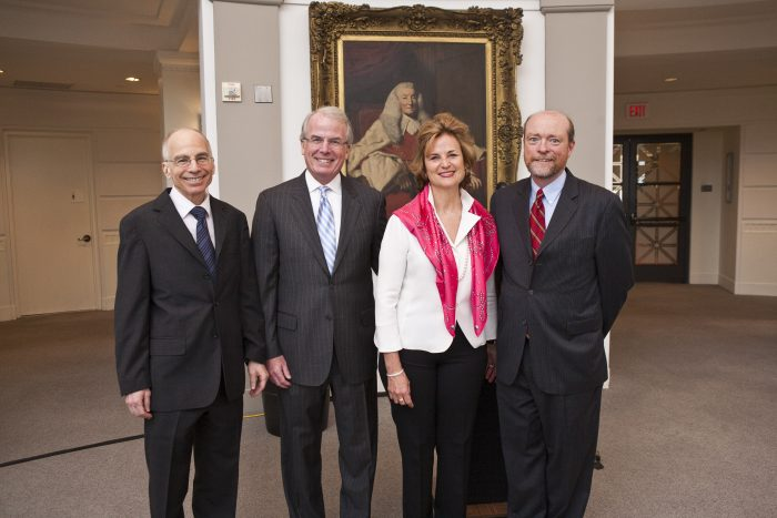 Portrait of Lawrence Gostin, Timothy and Linda O'Neill, and Dean William Treanor